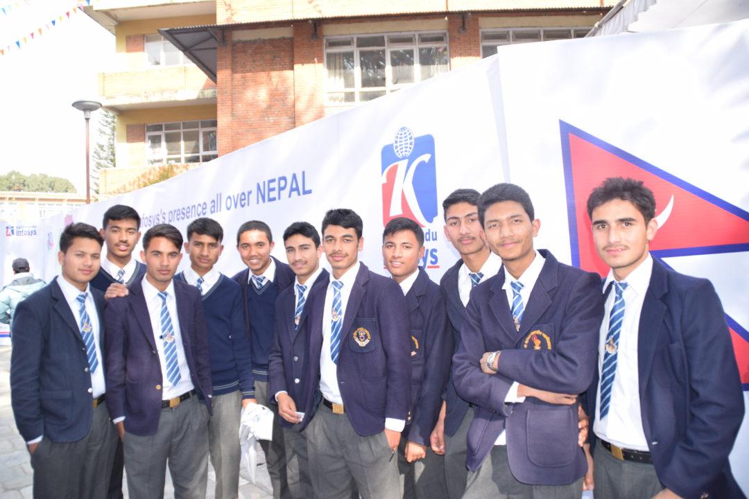 KIEC Pulchowk Sainik Awasiya students backdrop Nepal